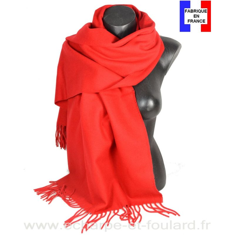 Châle en laine Iris rouge made in France