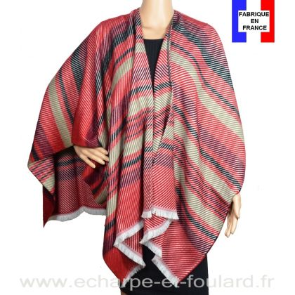 Poncho Velour rouge made in France