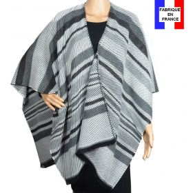 Poncho Velour gris made in France