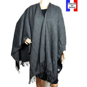 Poncho laine uni gris made in France