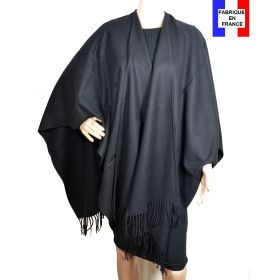 Poncho laine uni noir made in France
