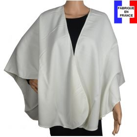 Poncho uni rond Milou blanc made in France