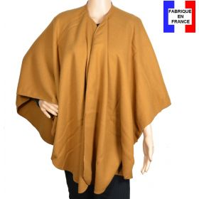 Poncho uni rond Milou camel made in France