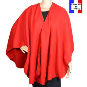 Poncho uni rond Milou rouge made in France