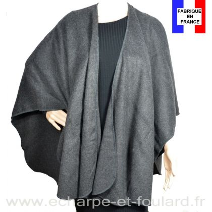 Poncho uni rond Milou gris made in France