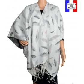 Poncho Boho plumes blanc made in France