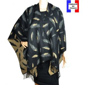 Poncho Boho plumes noir made in France