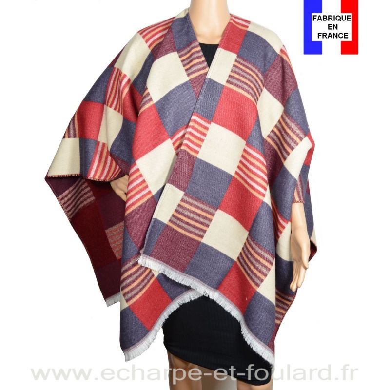 Poncho Luxury rouge made in France