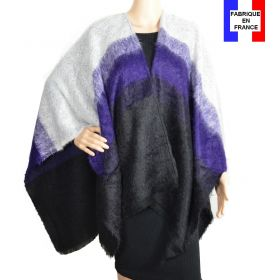 Poncho Cut violet noir made in France
