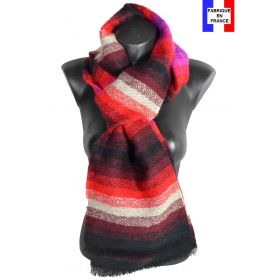 Echarpe Mohair noire et rouge made in France
