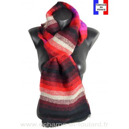 Echarpe Mohair noire et rouge made in France