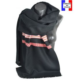 Châle Athna noir et corail made in France