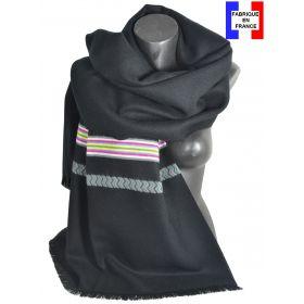 Châle Athna noir et gris made in France