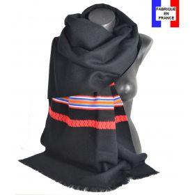 Châle Athna noir et rouge made in France