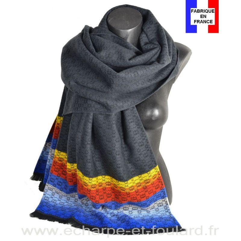 Châle Horizon noir made in France