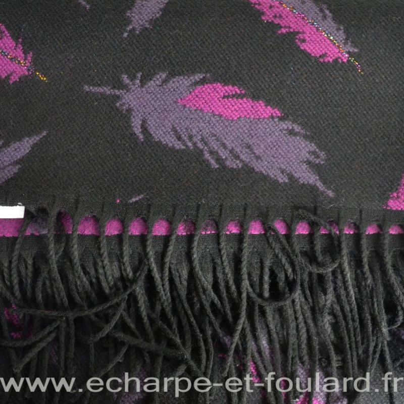 Châle Boho noir plumes roses made in France