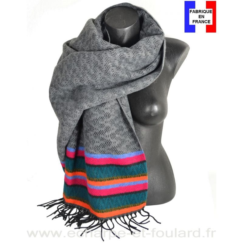 Châle Miao gris et vert made in France