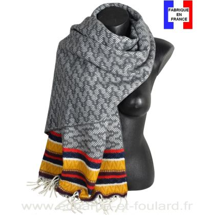 Châle Miao gris et jaune made in France