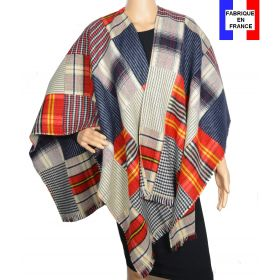 Poncho patch rouge et bleu made in France