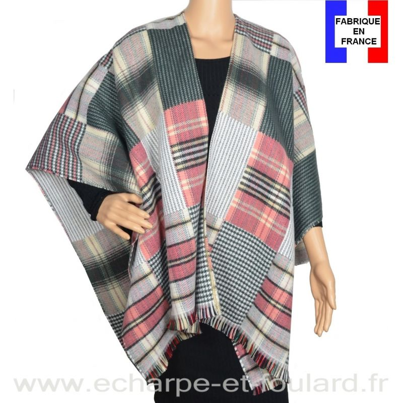 Poncho Patch gris et rose made in France