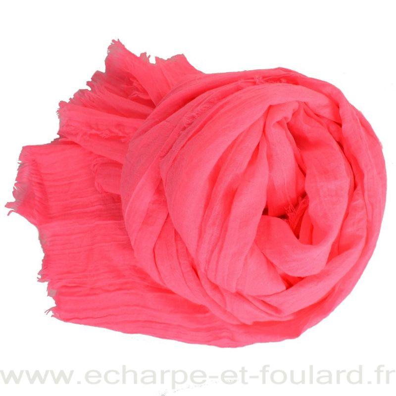 Grand cheche rose fluo