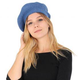 Berret en cachemire et viscose bleu