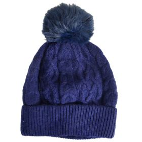 Bonnet en cachemire et viscose bleu marine