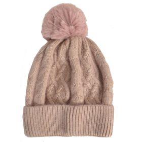 Bonnet en cachemire et viscose rose