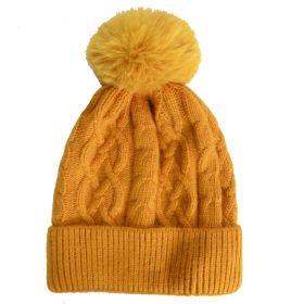 Bonnet en cachemire et viscose moutarde