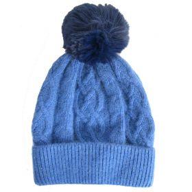 Bonnet en cachemire et viscose bleu