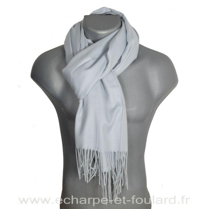 Echarpe très douce cachemire-laine gris-clair