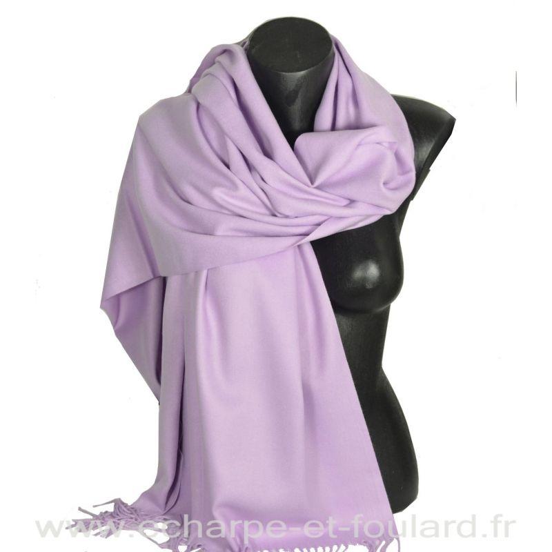 Echarpe très douce cachemire-laine mauve