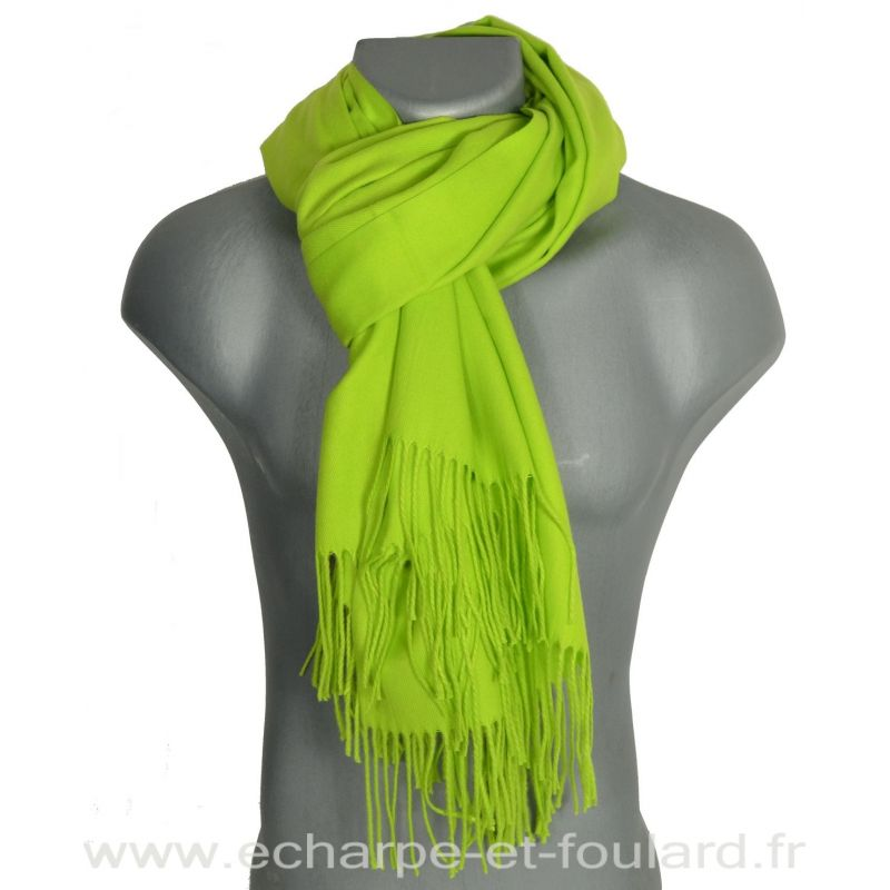 Echarpe très douce cachemire-laine vert anis