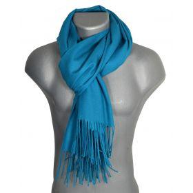 Echarpe très douce cachemire-laine bleu canard