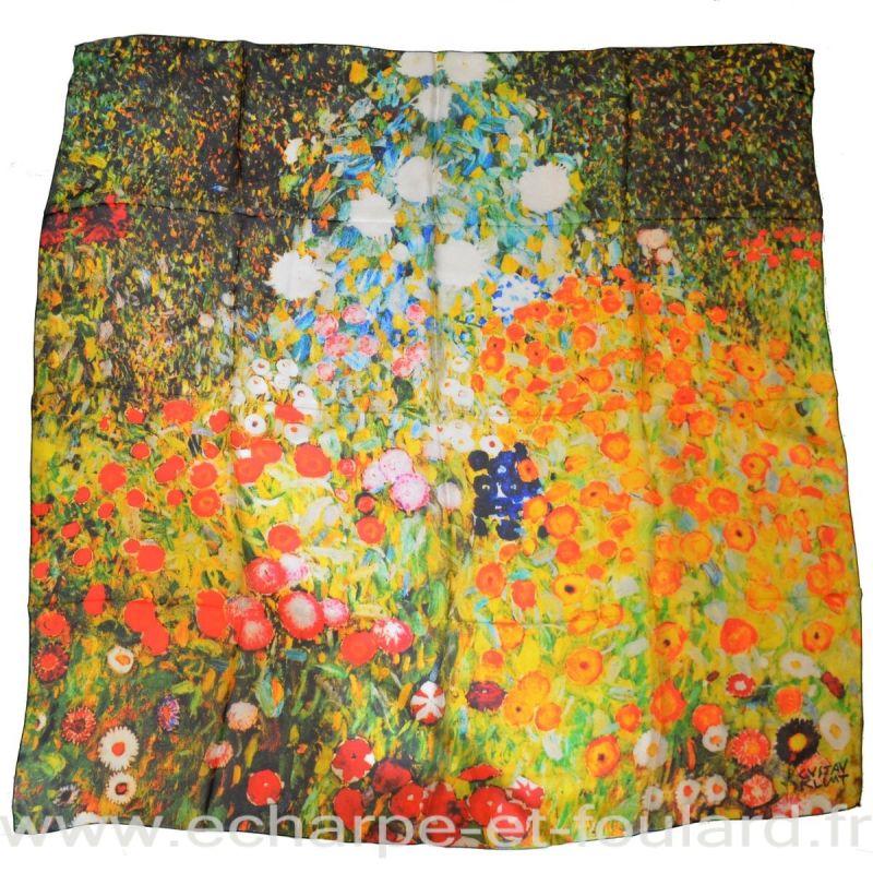 Foulard en soie Klimt, Jardin fleuri