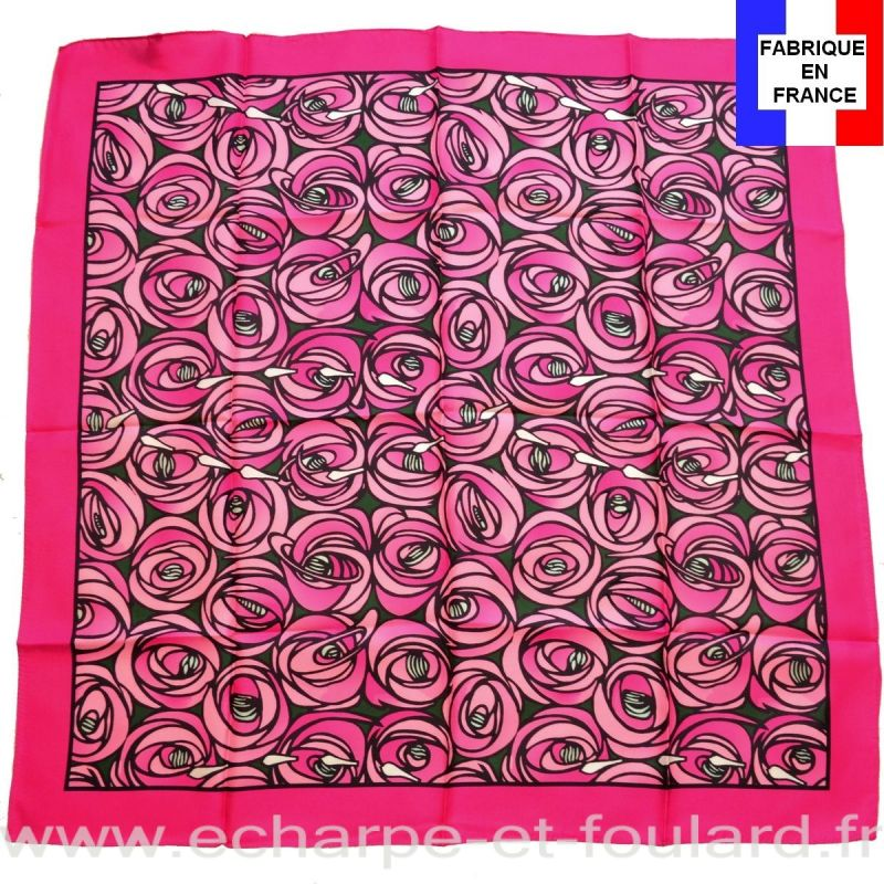 Foulard en soie Mackintosh, Rose et Larme