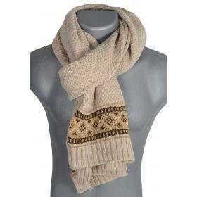 Grande écharpe homme tricotée beige