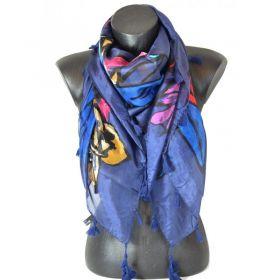 Cheche en soie bleu et rose à feuilles