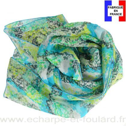 Echarpe soie Coquillage bleue fabriquée en France
