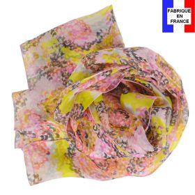 Echarpe soie Coquillage jaune fabriquée en France