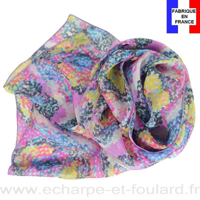 Echarpe soie Coquillage rose fabriquée en France