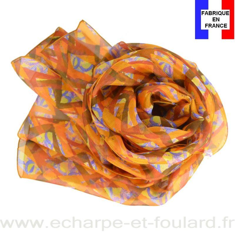 Echarpe soie Losange orange fabriquée en France