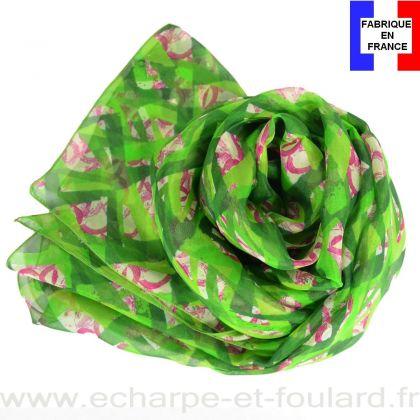 Echarpe soie Losange vert pomme fabriquée en France