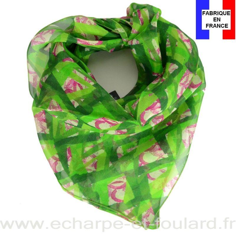 Carré de soie Losange vert pomme fabriqué en France