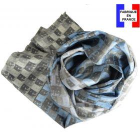 Echarpe soie homme Joconde - Léonard de Vinci bleue