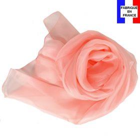 Echarpe mousseline soie rose poudré fabriquée en France
