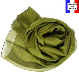 Echarpe mousseline soie kaki fabriquée en France