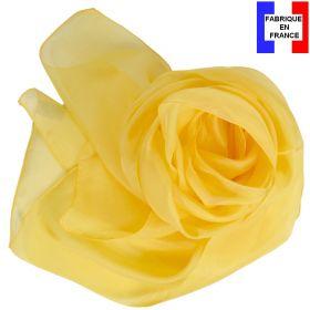 Echarpe mousseline soie jaune fabriquée en France