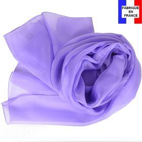 Echarpe mousseline soie mauve fabriquée en France