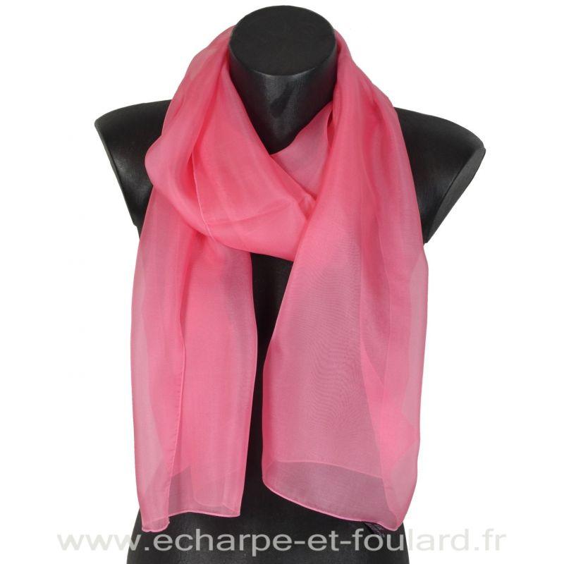 Echarpe mousseline soie rose bonbon fabriquée en France